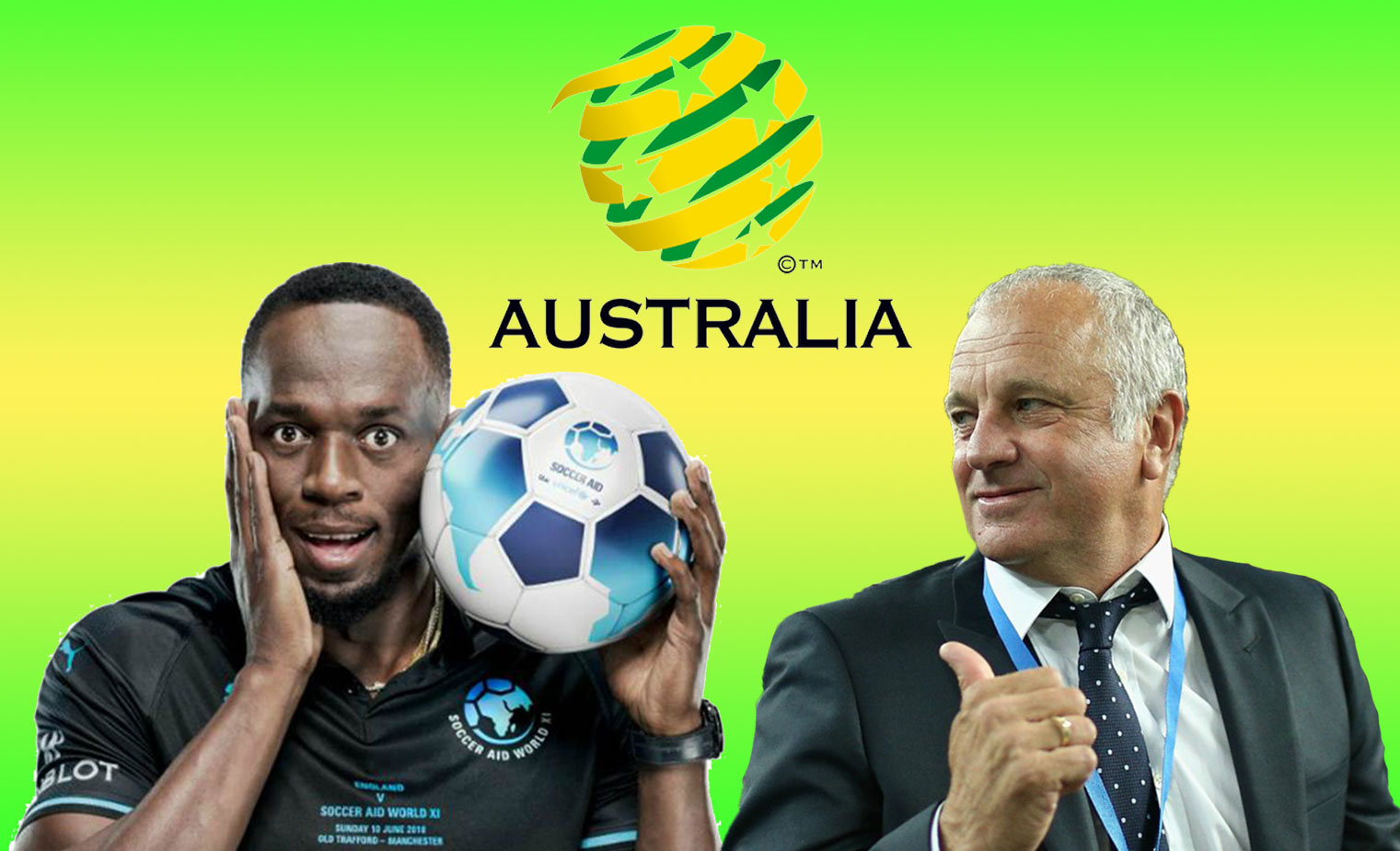 Socceroos Coach Graham Arnold hands Citizenship Papers to Usain Bolt