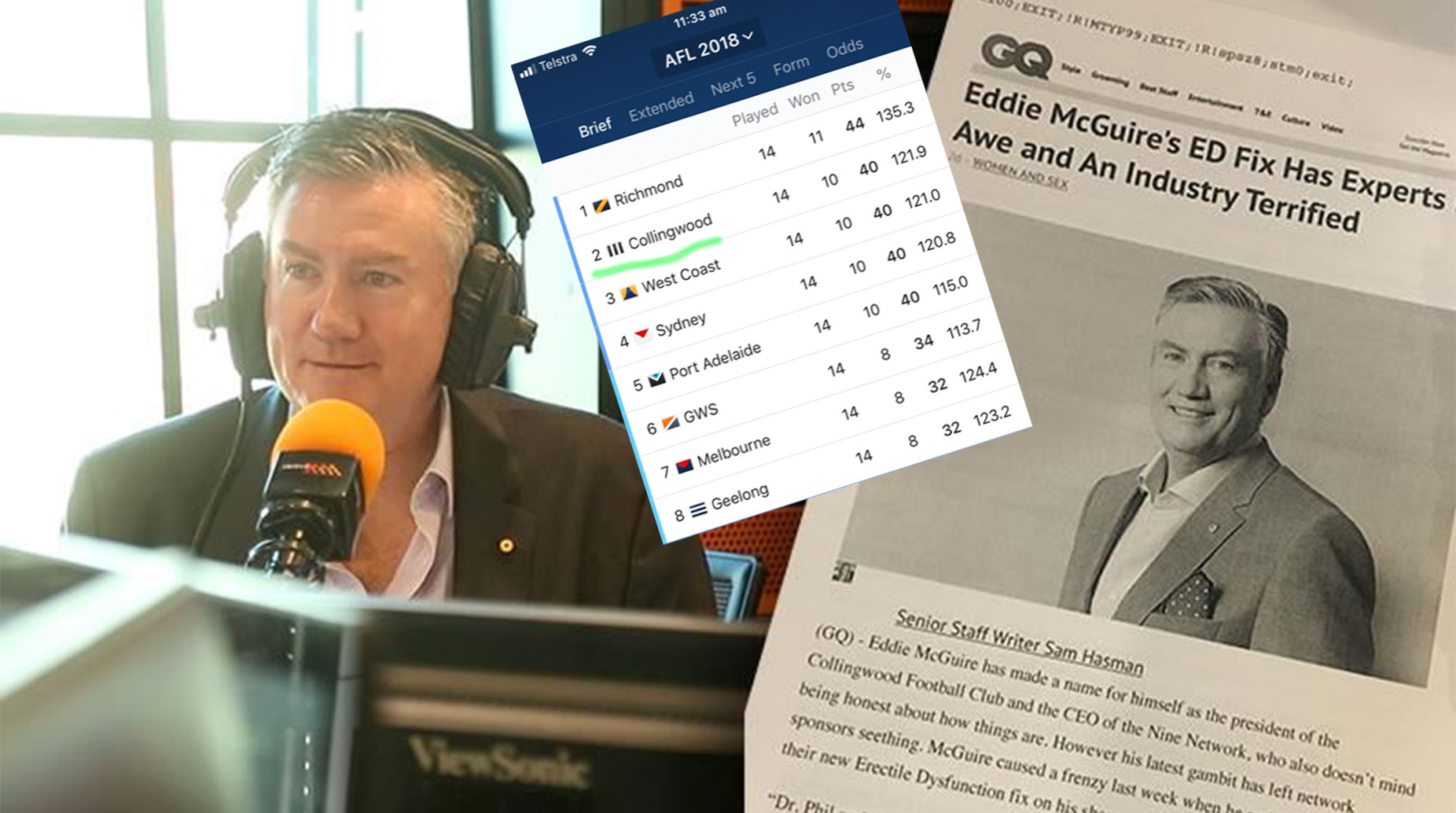 Eddie reveals I've tried Viagra, Ginseng, But Collingwood Second on the Ladder Beats them All.